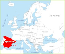Spanien auf der karte Europas