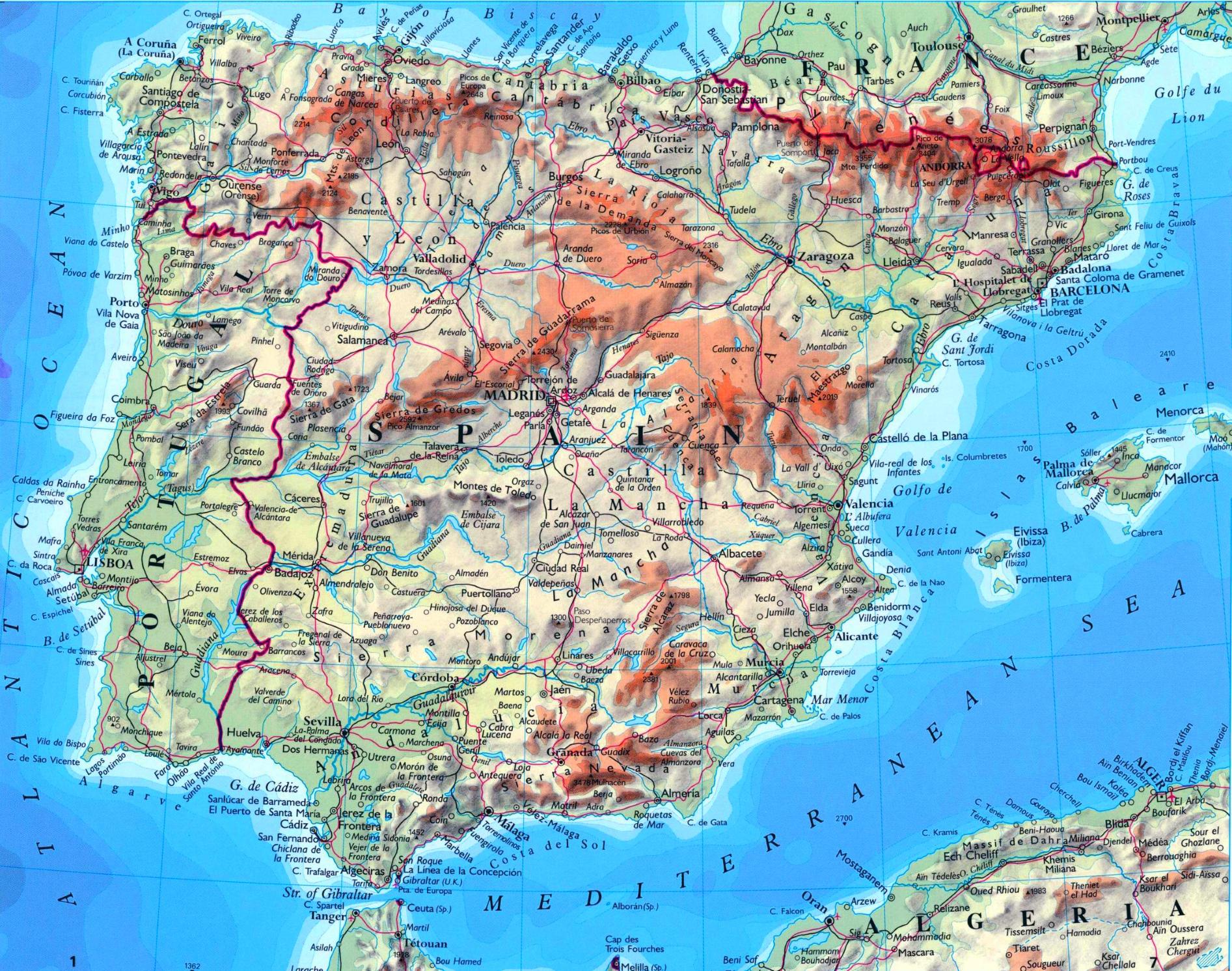 Spanien Karte Mit Stadten