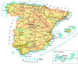 Straßenkarte von Spanien