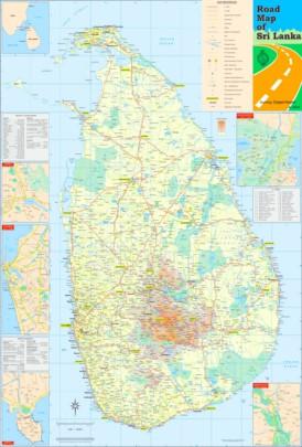 Große detaillierte karte von Sri Lanka