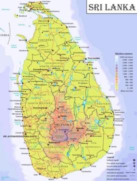 Physische landkarte von Sri Lanka