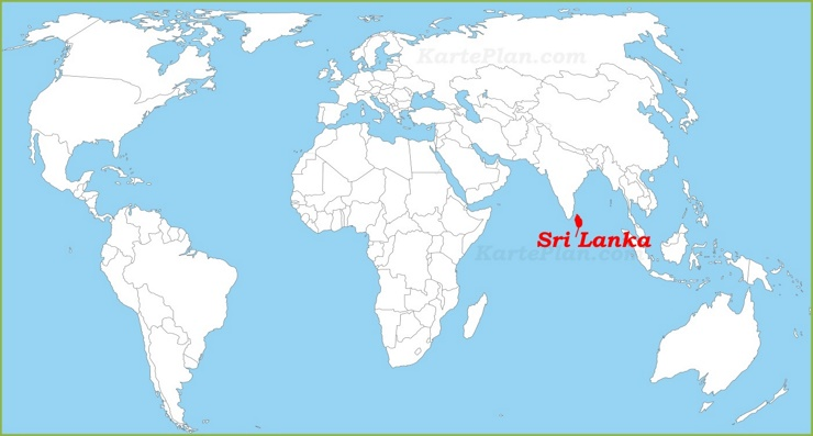 Sri Lanka auf der Weltkarte