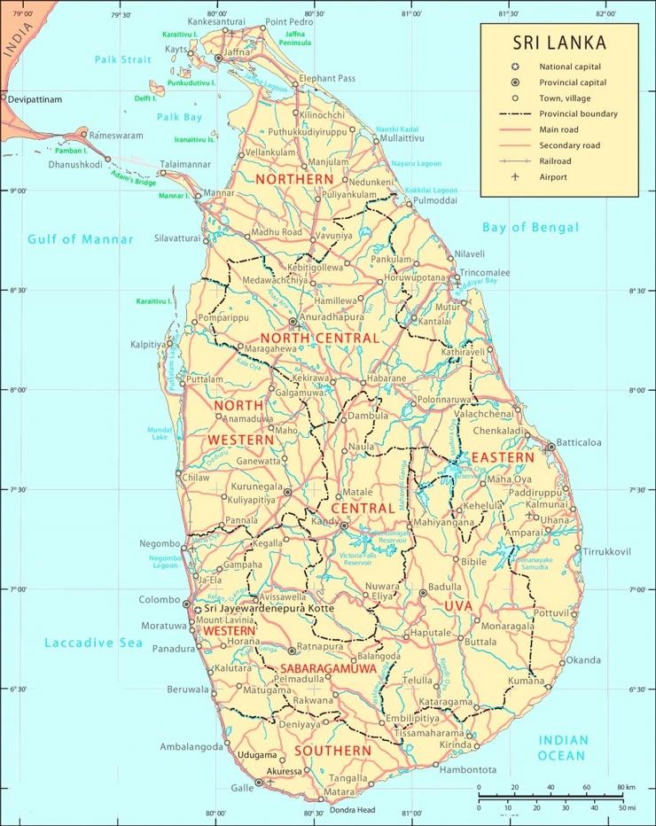 Sri Lanka politische karte