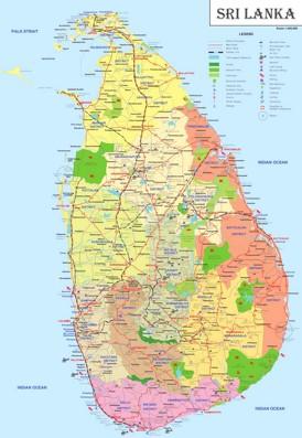 Sri Lanka touristische karte