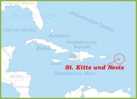 St. Kitts und Nevis auf der karte Karibiks