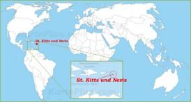 St. Kitts und Nevis auf der Weltkarte