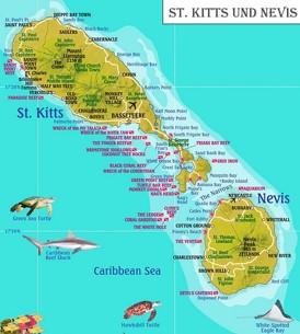 St. Kitts und Nevis touristische karte