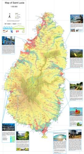 Große detaillierte karte von St. Lucia
