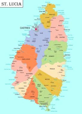 St. Lucia politische karte