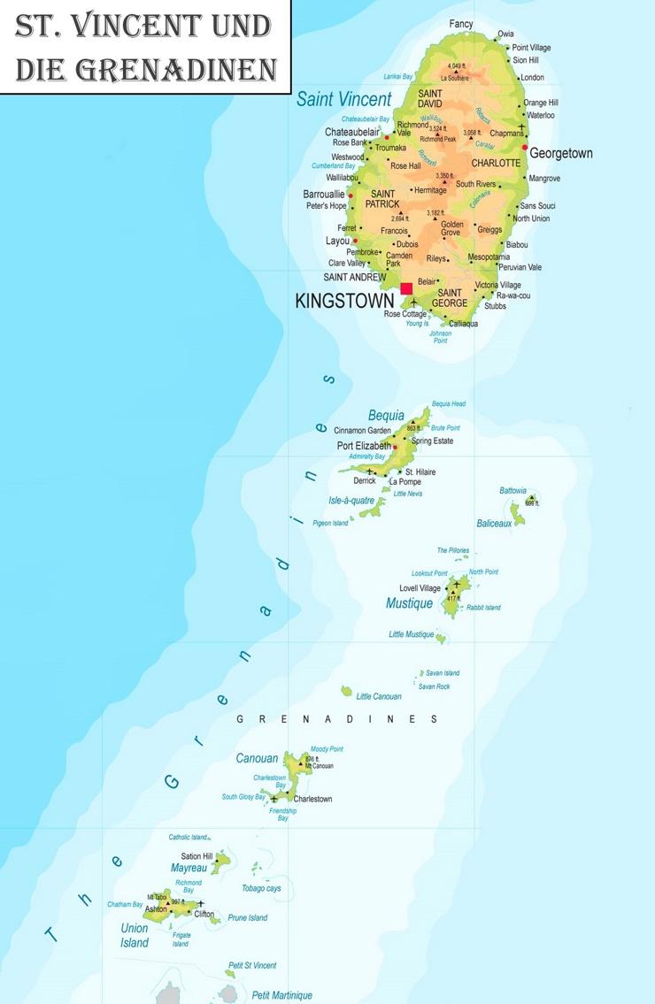 Detaillierte karte von St. Vincent und die Grenadinen