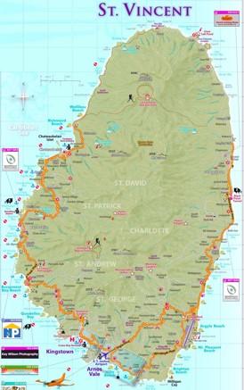 St. Vincent touristische karte