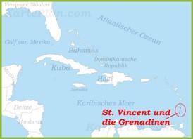 St. Vincent und die Grenadinen auf der karte Karibiks