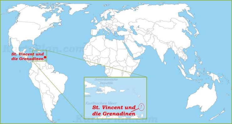 St. Vincent und die Grenadinen auf der Weltkarte