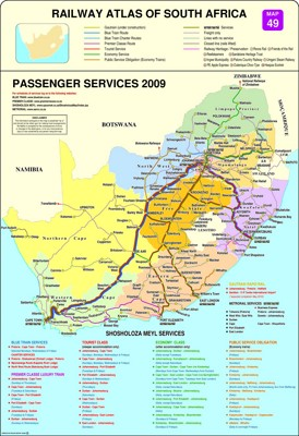 Schienennetz karte von Südafrika