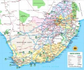 Straßenkarte von Südafrika