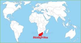 Südafrika auf der Weltkarte