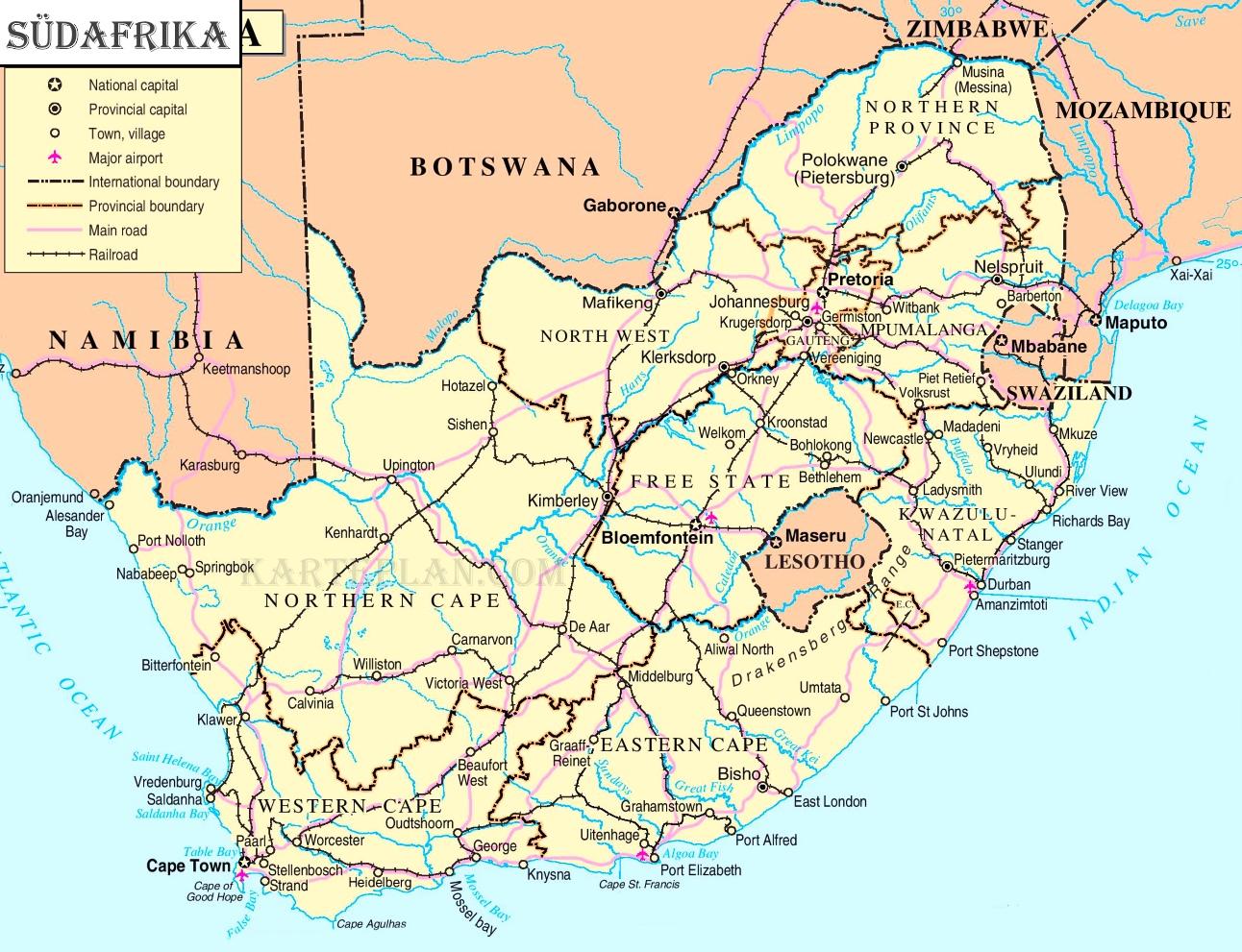 Sudafrika Politische Karte