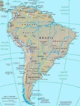 Physische landkarte von Südamerika