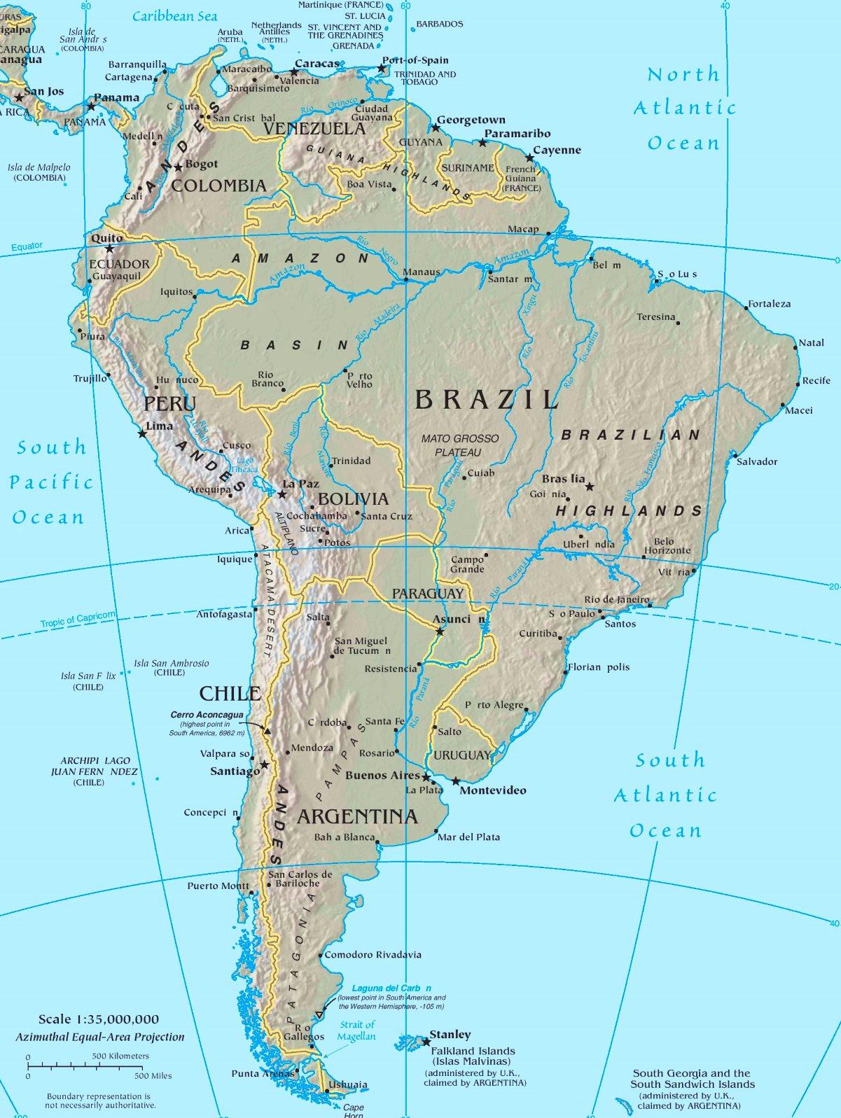 Physische Landkarte Von Sudamerika