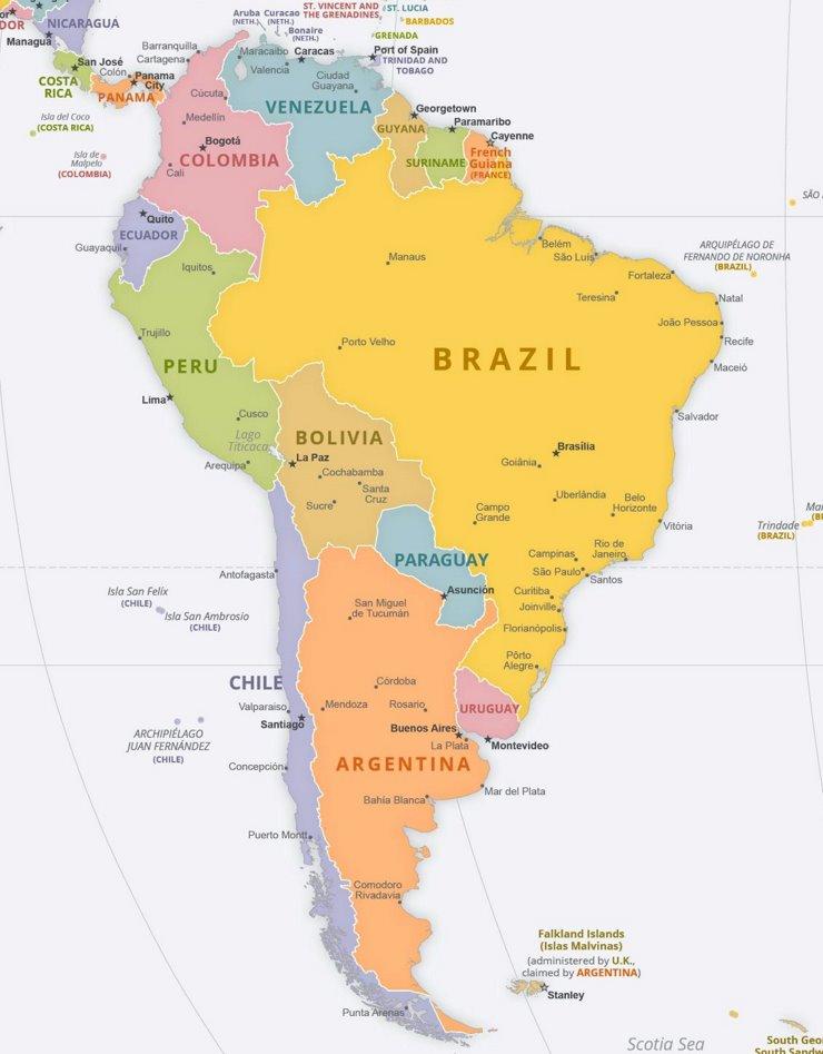 Politische Karte Südamerikas mit den Hauptstädten