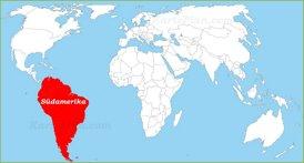 Südamerika auf der Weltkarte