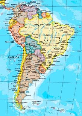 Südamerika karte mit städten