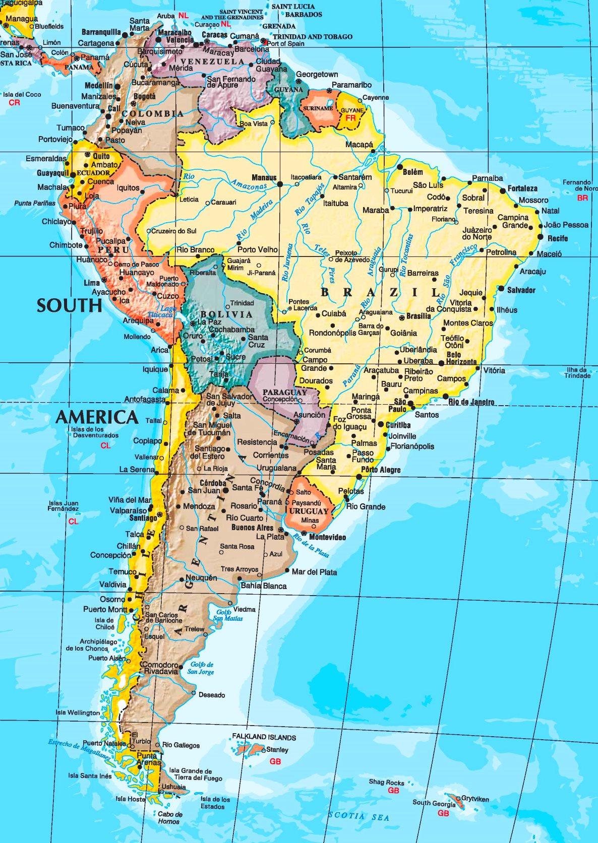 Sudamerika Karte Mit Stadten