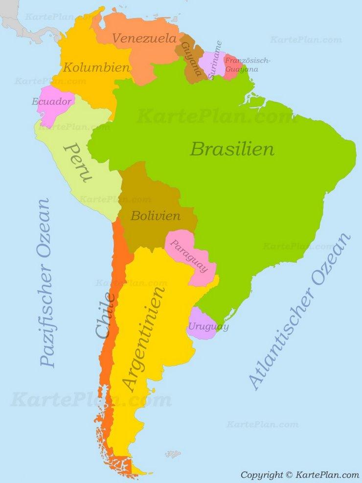 Südamerika politische karte