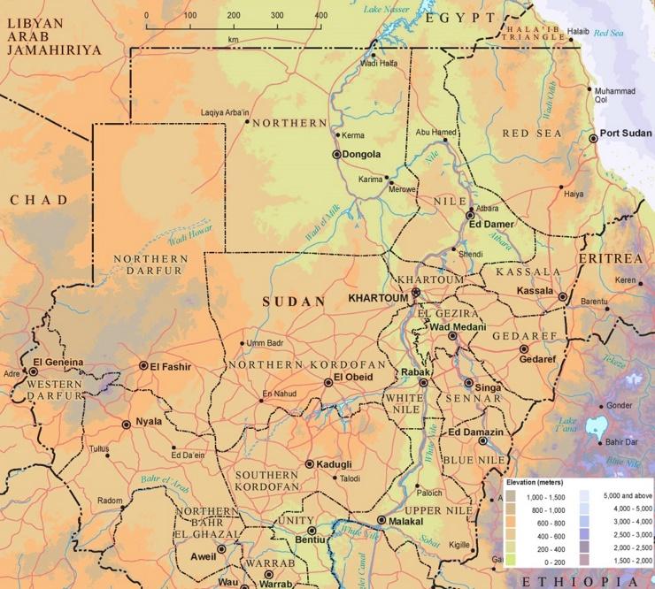 Physische landkarte von Sudan