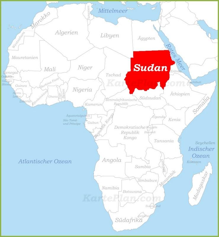Sudan auf der karte Afrikas