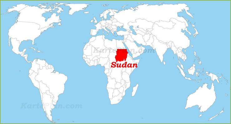 Sudan auf der Weltkarte