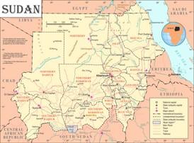 Sudan politische karte