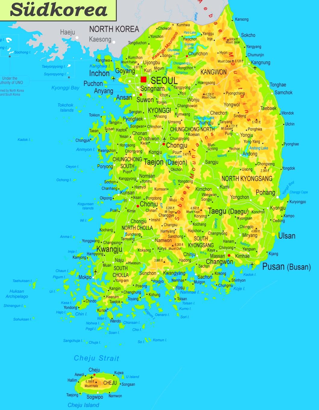 Südkorea Karte.Physische Landkarte Von Südkorea