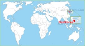 Südkorea auf der Weltkarte