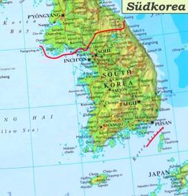Südkorea karte mit städten