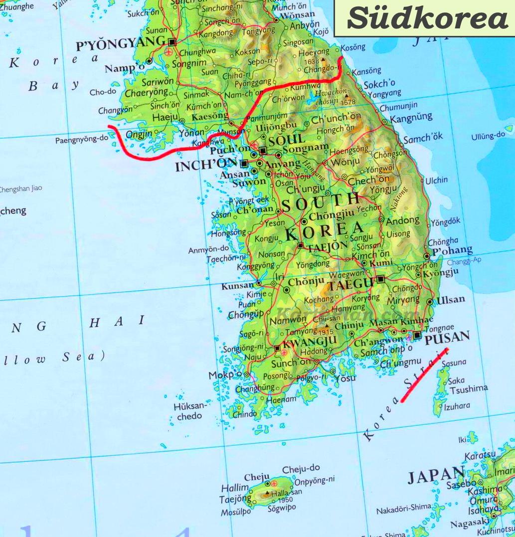Südkorea Karte.Südkorea Karte Mit Städten