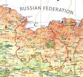 Straßenkarte von Südossetien