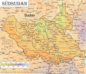 Physische landkarte von Südsudan