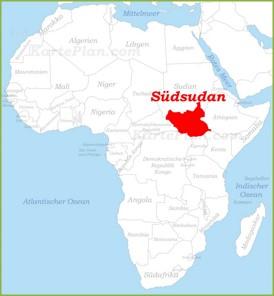 Südsudan auf der karte Afrikas