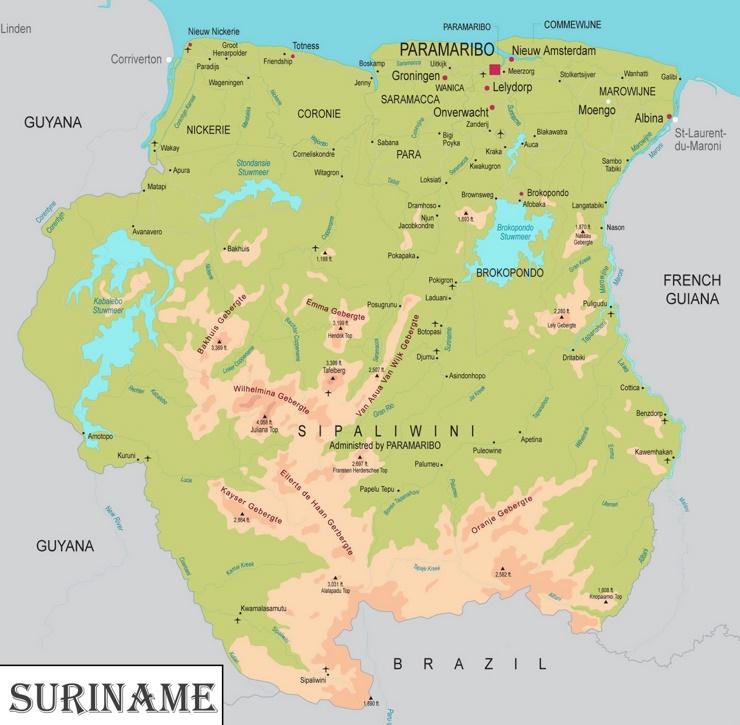 Große detaillierte karte von Suriname
