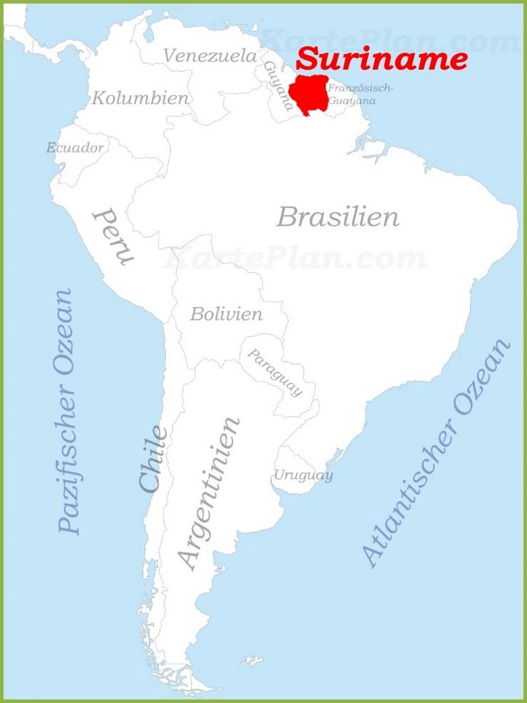 Suriname auf der karte Südamerikas