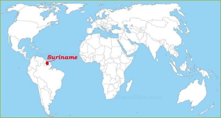 Suriname auf der Weltkarte