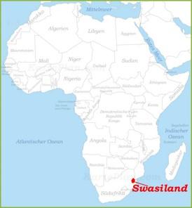 Swasiland auf der karte Afrikas