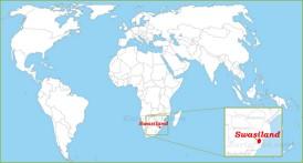Swasiland auf der Weltkarte