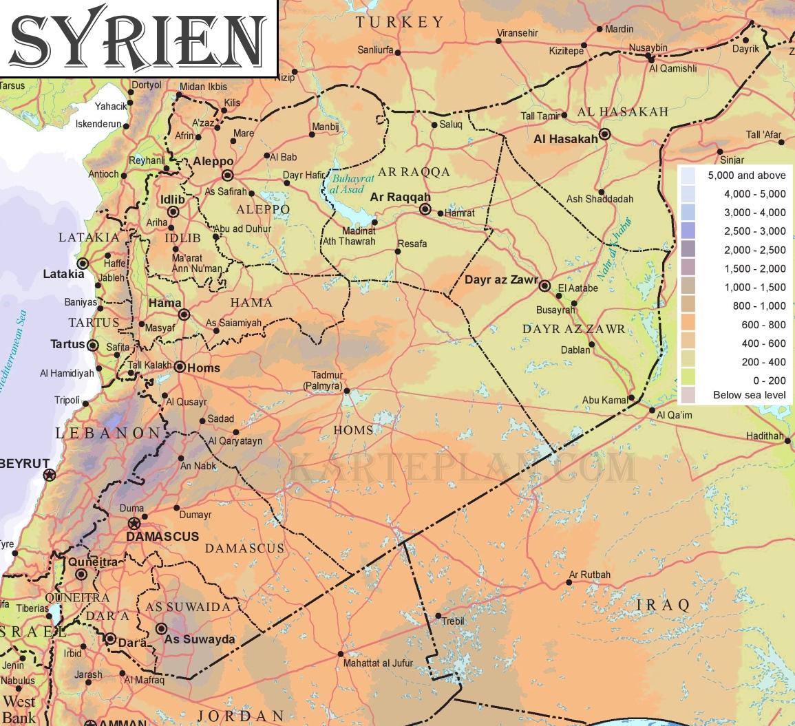Syrien Karte Mit Städten.Physische Landkarte Von Syrien