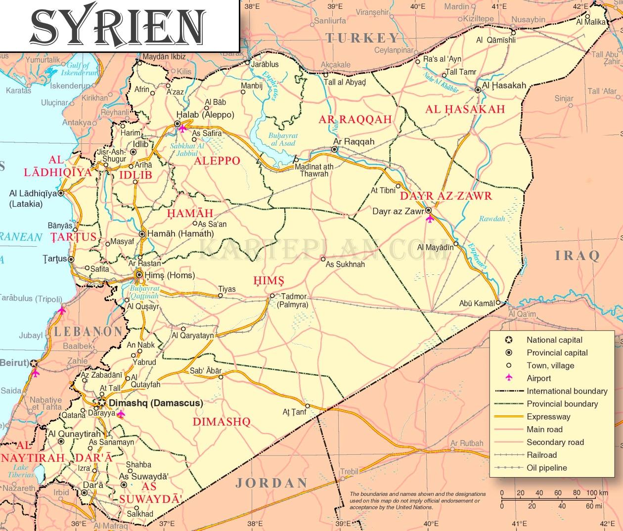 Syrien Karte Mit Städten.Syrien Politische Karte