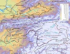 Physische landkarte von Tadschikistan