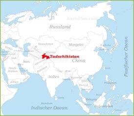 Tadschikistan auf der karte Asiens