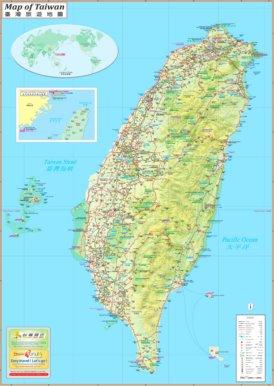Große detaillierte karte von Taiwan