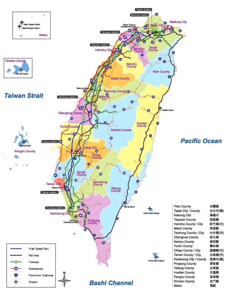 Straßenkarte von Taiwan